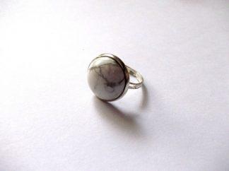 Inel howlite alb cu gri, inel piatra semipretioasa femei 39517