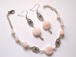Set pietre semipretioase cuart roz, set bijuterii femei 39546