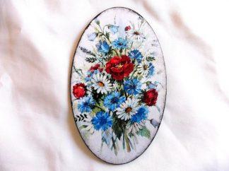 Tablou lemn cu flori albastre, rosii si albe, tablou oval 39630