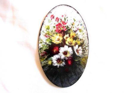 Tablou oval cu flori de primavara, tablou lemn 39631