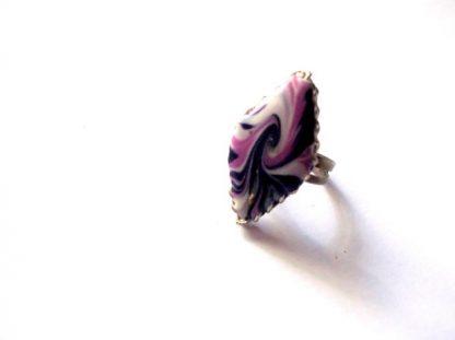 Inel mov, roz si alb, inel reglabil fimo 39786