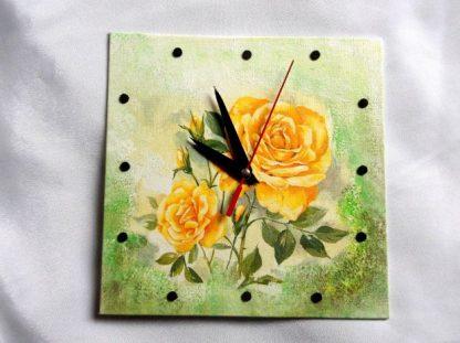 Model trandafiri galbeni ceas lemn, ceas de perete patrat 39755