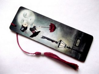 Semn carte fata cu umbrela rosie pupa luna, semn de lemn 38763