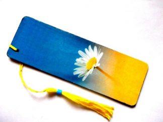 Semn cu margareta, semn carte margareta pe fundal albastru si galben 38762