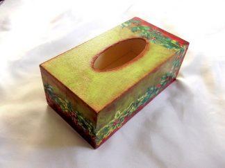 Cutie motiv flori pe fundal gen invechit, cutie de servetele hartie 39906