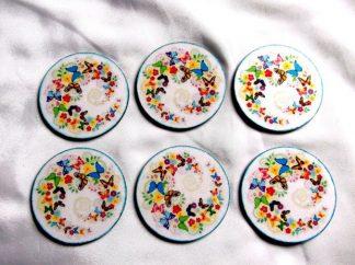 Fluturi viu colorati set suport pahare, suport pahare pe rotund 39875