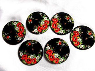 Maci si flori de musetel pe fundal negru, suport de pahare 39845