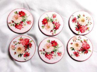 Suport cu flori roz si rosii, suport pahare pe rotund 39852