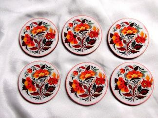 Suport pahare cu flori portocalii, set de pahare 39878