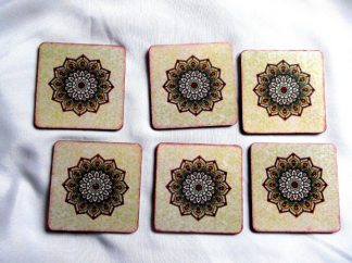 Suport pahare cu mandala, set suport pahare pandale 39853