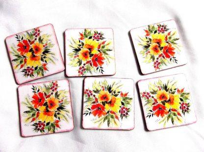 Suport pahare cu model floral, suport pahare lemn 39850