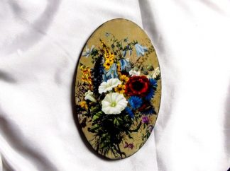 Tablou cu model floral pe fundal vernil, tablou pe lemn 39890